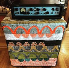 Ashdown 410T bass cabinet quilted dust cover. Carolyn Friedlander fabric: Carkai. Doe. Architextures. Made by White Hills Quilts.