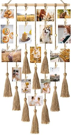 Photo Wall Hanging, Macrame Wall Hanging Diy, Hanging Picture Frames, Hanging Pictures, Diy Crafts Paper Flowers, Diy Wall Decor For Bedroom, Deco Nature, Wall Decor Pictures, Photo Displays