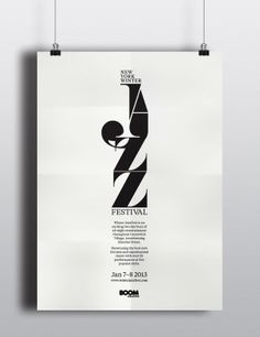 New Your Winter Jazz Festival - Posters & Promotion by Luke Syrylo, via Behance Typography Poster Design, Typographic Poster, Lettering Design, Jazz Festival, Festival Posters, Jazz Music, Jazz Poster, Gig Poster, Music Covers