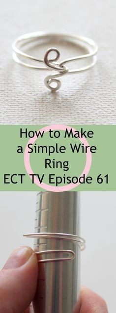 to Make a Simple Wire Ring - video tutorial plus step-by-step photo instructions!How to Make a Simple Wire Ring - video tutorial plus step-by-step photo instructions! Wire Jewelry Making, Jewelry Making Tutorials, Wire Wrapped Jewelry, Metal Jewelry, Making Bracelets, Jewellery Making, Jewelry Rings, Wire Rings Tutorial, Ring Tutorial