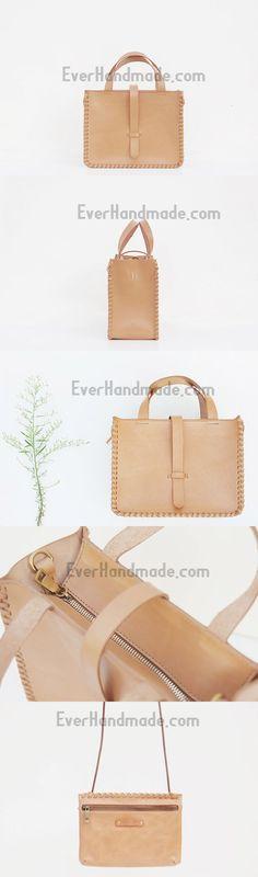 Handmade leather handbag beige shopper bag shoulder bag