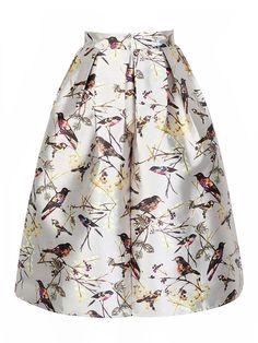 Shop Multicolor Bird And Branch Print High Waist A-line Skirt from choies.com .Free shipping Worldwide.$34.99