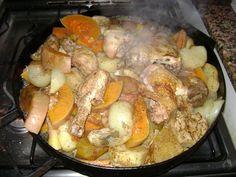Pollo y vegetales al disco de arado
