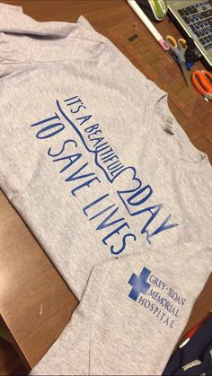 Grey Long Sleeved Grey's Anatomy shirt Greys Anatomy shirt long sleeve Grey+Sloan Memorial logo on sleeve Shirts are ash gray with royal blue writing **may take up to two weeks to ship*** Greys Anatomy Shirts, Grey Anatomy Quotes, Grays Anatomy, Greys Anatomy Sweatshirt, Grey Quotes, Grey's Anatomy Clothes, Shirt Sleeves, Long Sleeve Shirts, Long Shirts