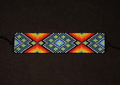Pulsera Huichol Loom Beading, Beading Patterns, Bead Crochet, Bead Crafts, Beadwork, Wire Wrapping, Needlepoint, Seed Beads, Jewelery