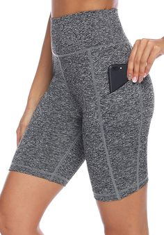 Hold The Phone: These Leggings Have Deep Pockets+#refinery29 Yoga Shorts, Workout Shorts, Yoga Pants, Workout Leggings With Pockets, Knee Length Shorts, Jeans For Short Women, Waist Workout, Women's Leggings, Gym Shorts Womens