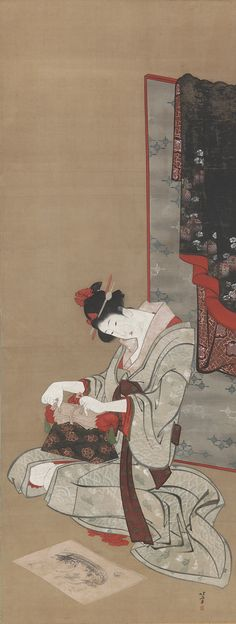 Katsushika Hokusai - New Year Custom: Makeup on the New Year Morning