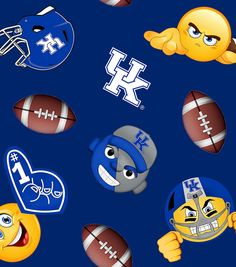 University of Kentucky NCAA Fleece Fabric 60''-Emoji