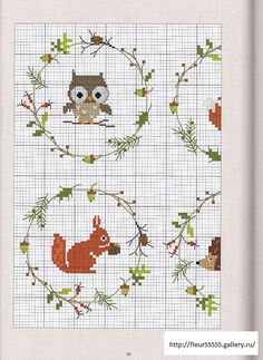 Free Owl and Squirrel Cross Stitch Chart Pattern