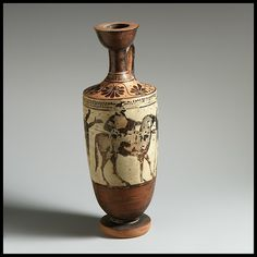 Lekythos Attributed to the Athena Painter Period: Classical Date: ca. 480 B.C. Culture: Greek, Attic Medium: Terracotta; black-figure, white-ground