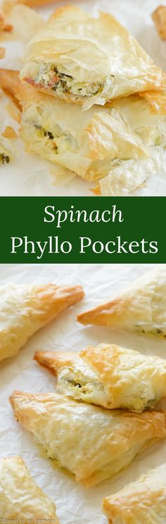 Light, crispy and flakey, sun-dried tomato and spinach phyllo pockets make a great snack! They are great as an appetizer for any occasion. via @introvertbaker