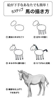 不覚にもワロタw (how to draw a horse?) ちょっと待て!!!!! ①~④と⑤の間に欠落した部分が相当!!!!!