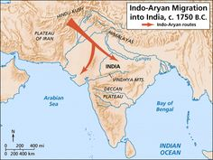 Indo-Aryan Migration into India, c. 1750 B.C.  This map shows the general route taken by the Indo-Aryans who migrated into India beginning around 1750 B.C. They were nomadic warriors who came from the Plateau of Iran and moved through the Hindu Kush Mountains into the Indus Valley and beyond to the Ganges Valley. With them they brought bronze weapons, horses, and chariots.
