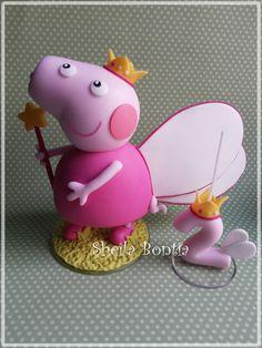 Topo de bolo da Peppa Pig confeccionada em biscuit R$ 70,00