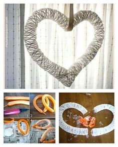 DIY Heart yarn Wreath with balloon --  http://wonderfuldiy.com/wonderful-diy-yarn-heart-wreath-with-balloon/