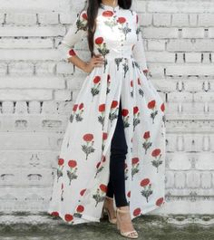 Floral open dress with jeans-Mix and match summer casual wear – Just Trendy Girls
