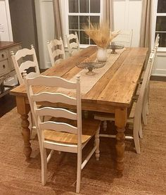 Distressed Reclaimed Farmhouse Dining Table is part of Farmhouse dining table This Farmhouse Dining Table is truly a work of art! The top of the table shown is 1 5 1 75 inches thick, which has been - Dinning Table Design, Rustic Dining Chairs, Farmhouse Dining Room Table, Dining Room Table Decor, Table En Pin, Kitchen Table Makeover, Design Minimalista, Rustic Furniture, Furniture Design