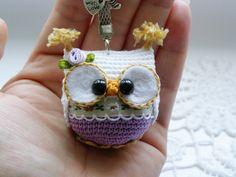 Owl keychain , crochet owl key chain, amigurumi owl toy, bag charm, handbag accessory by Laska by Laska on Etsy