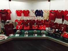 The history of MUFC shirts in the Manchester United museum.