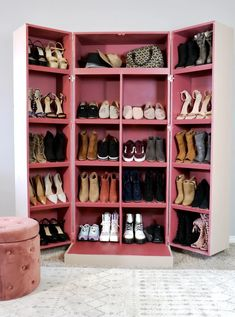 Hidden Shoe Storage never looked so good with this hidden shoe cabinet. These DIY shoe cabinet plans give you an easy step by step tutorial to create your own hidden shoe storage . Shoe Shelves, Shoe Storage, Storage Ideas, Shoe Racks, Shoe Cupboard, Cabinet Plans, Diy Furniture Plans, Furniture Deals, Furniture Making