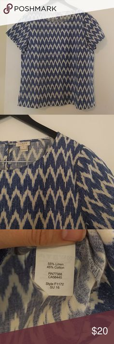 J Crew linen top Linen/cotton blend, perfect for spring and summer. Blue and cream pattern. Slightly oversized, boxy fit. Excellent condition. J. Crew Tops Blouses