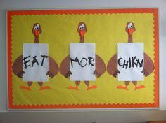 Thanksgiving bulletin board  #turkey #fall #autumn #november #preschool #holiday