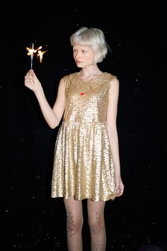 thewhitepepper:  Happy New Year SaleatTHE WHITEPEPPER Shop Sleeveless Spangle Dress Gold with Sale! Like us on Facebook