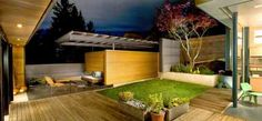 aménagement jardin moderne autour d'un patio de pelouse