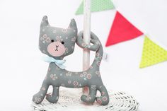Items similar to Grey Floral Rattling Curly Cat / Rattle / Stuffed Cat / Stuffed Animal Sewed of Premium Quality Fabric / Soft Toy on Etsy Curly Cat, Unique Gifts, Handmade Gifts, New Moms, Baby Toys, Baby Shower Gifts, Dinosaur Stuffed Animal, Kitty, Christmas Ornaments
