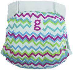 gDiapers Hybrid Cloth Diapers - Hook & Loop - Gamma Stripe - Large