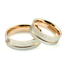 """1 Piece """"Love Only You"""" Rose Gold Color Couple Rings,Wedding Ring,Engagement Rings Blue Rings, Silver Rings, Silver Bracelets, Silver Jewelry, Glass Jewelry, Brautring Sets, Silver Claddagh Ring, Sapphire Band, Wedding Rings Simple"""