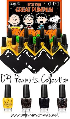 """OPI Peanuts Collection (Halloween 2014) Very cute ad campaign and packaging. But, wouldn't spend extra for """"black"""" nail polish."""