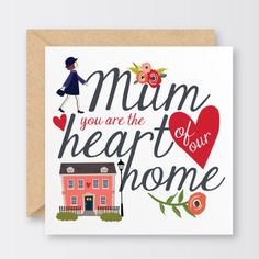 'Heart Of Our Home' Mother's Day Card £2.50
