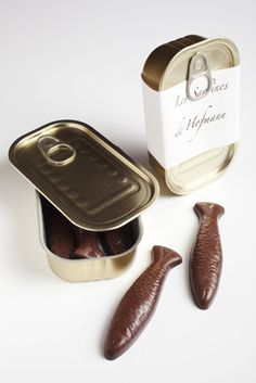 Chocolates in the shape of sardines, tin can and all