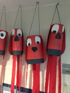 C is for Clifford-Clifford Windsock Craft Clifford the big red dog craft Dog Crafts, Animal Crafts, Crafts For Kids, Arts And Crafts, Red Dog, Dog Birthday, Ms Gs, In Kindergarten, Preschool Crafts