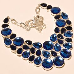"""FACETED TANZANITE QUARTZ OUTSTANDING ROYAL LOOK - 925 SILVER NECKLACE 18"""" #Handmade #Choker"""