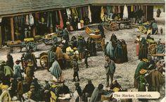 Old Postcard of the Limerick Milk market Limerick Ireland, Limerick City, Ireland People, Irish People, Irish Culture, City Museum, My Family History, Emerald Isle, Old Postcards
