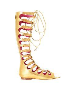 OSCAR TIYE SANDAL GLADIATOR S/S 2016 Sandal gladiator golden leather high leg leather sole back closure with zip Heel: 0,5 cm