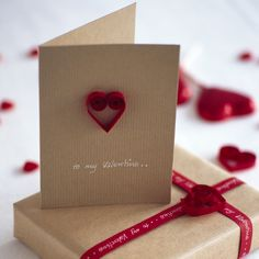 Show your love with a quilled paper heart Valentine card