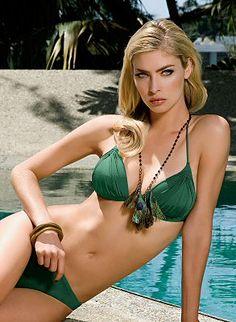 Stunning shimmery green bikini set with ruching detail along bust by Maryan Mehlhorn Swimwear, $186.00