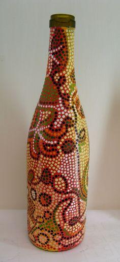 painted wine bottles - great dot design! - Yvonne Cavanagh: Last Week of School...almost.