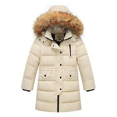 MissMay Kids Big Girls' Down Puffer Jacket Parka Coat Hood Fur Outwear Outfit Long Windbreaker Thick Warm 4T/5T Cream White