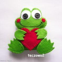Żabka - broszka z filcu   Frog