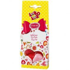 """Look-O-Look Give Away Candy """"Für Dich"""" Geschenkverpackung mit Fruchtgummi mit Schaumzucker-Boden und gezuckertem Schaumzucker, 3-fach sortiert. Inkl. Grußfeld auf der Rückseite. Mit natürlichen Farbstoffen."""