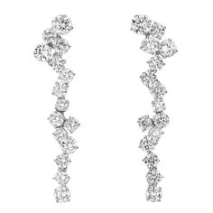 Classically Elegant Diamond gold Grapevine Earrings | From a unique collection of vintage dangle earrings at https://www.1stdibs.com/jewelry/earrings/dangle-earrings/