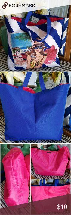 "Lancome Paris Barcelona Tote MEASUREMENTS: 🛍 12.5"" L x 3.5"" W x 12.5"" D 🛍 Strap drop 9"" x 1"" W  CONDITION: EUC. No holes, No stains  Clean  Blue and white striped nylon tote Woven nylon strap Lined interior  Large tote Lancome Bags Totes"