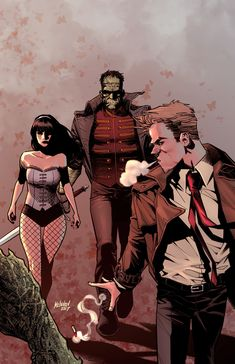 Justice League Dark by Gleb Melnikov. Constantine Hellblazer, John Constantine, Dark Comics, Dc Comics Art, Harley Quinn Comic, Dc Legends Of Tomorrow, Dc Memes, Cinema, Batman And Superman