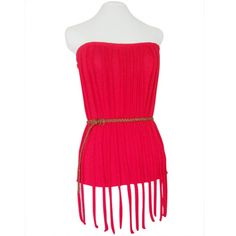 Red Fringe Tube Top- comfy and bright tube top featuring a fun fringe design! Looks great with a thin belt around the waist, and paired with shorts, layered friendship bracelets, and cowboy ankle boots or Americana style platform boots!
