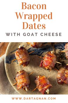Sweet, salty, smoky, and tart – these bacon wrapped dates have it all. They come together quickly and make a great weekend snack or party food. #christmas #christmasappetizers