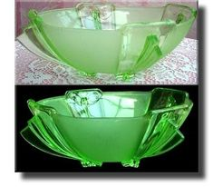 Art Deco Vaseline Glass / Uranium Glass Bowl - Czech - c.1930's